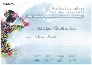 「ANNECY International Animated Film Festival 2012 賞状(Award Certificate)」